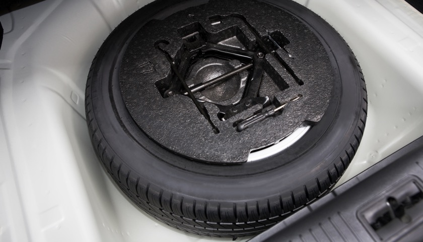 Spare tyre in car boot